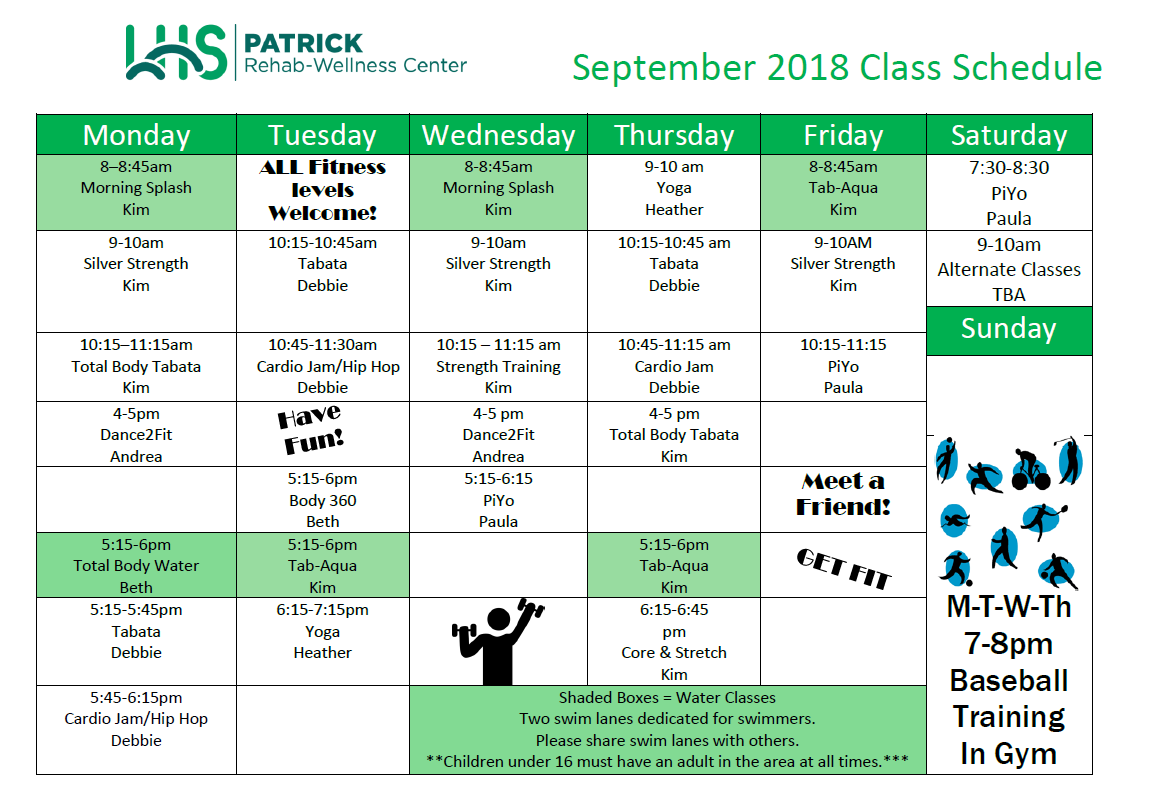 September Patrick Class Schedule