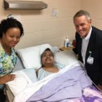 Caring for the whole person. Yolanda Marable, Social Worker and Harold Dawkins, Chaplain of Lincoln Hospice are pictured with Hospice patient Carol Sebastian.